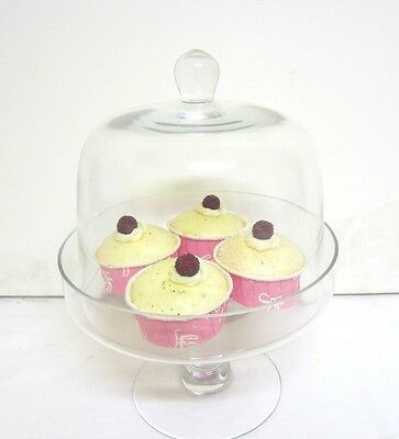 GLASS CAKE STAND WITH DOME LID Cupcake stand Candy Lolly Buffet