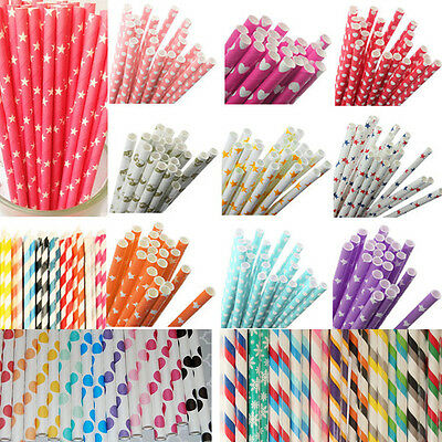50Pcs Colorful Rainbow Paper Drinking Straws Vintage Birthday Wedding Xmas Party