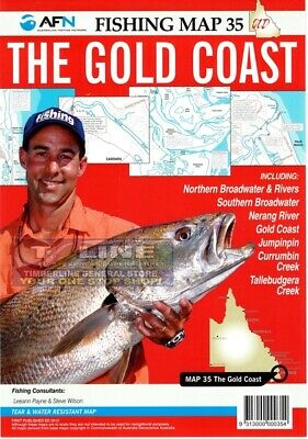 AFN Fishing Maps The Gold Coast (QLD) Map 35 Tear & Water Resistant Map