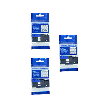 3X White/Clear Tape Label Compatible for Brother PTouch TZ TZe-135 PT1000,PT1010