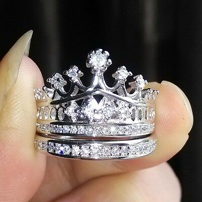 Women Lady Royalty Queen Princess Crown Gold 925 Silver Plated Fashion Ring