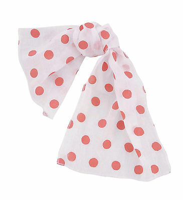 1950s 1960s #ROCK N ROLL POLKA DOT WHITE SCARF FANCY DRESS ACCESSORY