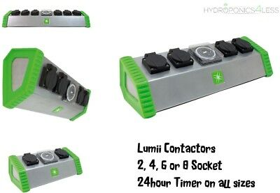 Lumii Contactor Relay 13 Amp 2 4 or 6 Socket with Timer Hydroponic Lights HPS MH
