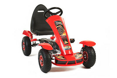 NEW Kids Pedal Large Rubber Wheel Blue Go Kart (Red) Ride On Childrens Cart Goka