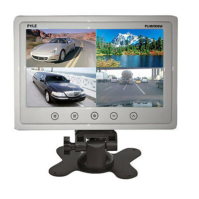 """PYLE PLHRQD9W 9"""" LCD Car/Home Video Headrest Monitor Four Video Inputs Stand"""