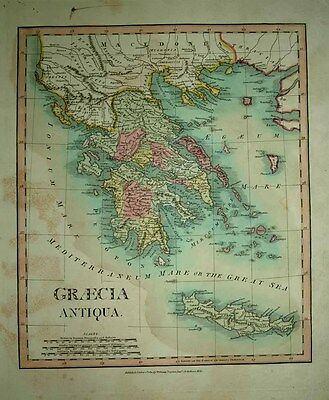 1811 William Darton (Wilkinson) Map ANCIENT GREECE, CRETE Scholarly & Decorative