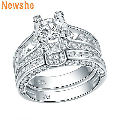 White Round Cut 925 Sterling Silver Engagement Wedding Ring Band Set Size 5-10
