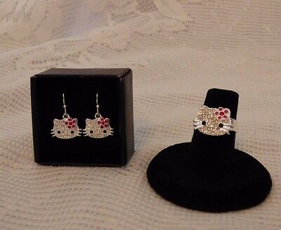 Hello Kitty Sparkle Ring and Earrings Set Sanrio 2011 New in Box