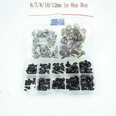 100pcs 6-12mm Black Plastic Safety Eyes For Teddy Bear Doll Animal Craft Toy DIY