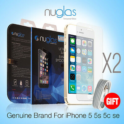 2X Genuine NUGLAS Tempered Glass Screen Protector for Apple iPhone 5 5S Se