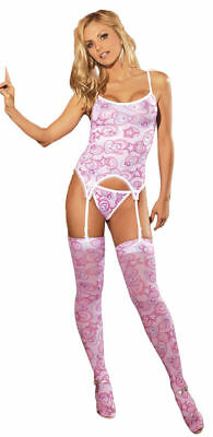 Morris Costume Women's New Stretch Mesh Camisette G-String Pink One Size. MO1406