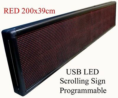 RED Programmable USB LED Message,Time Scrolling Digital Display Sign 200x39 cm R