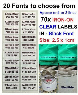 70x Clear Labels Black Font Iron On Name Labels Tags Printed - Size: 2.5x1cm