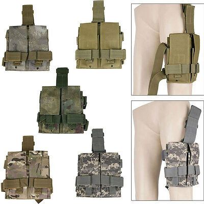 Military Outdoor Tactical Molle Utility Double Magazine Tool Mag Drop Leg Pouch
