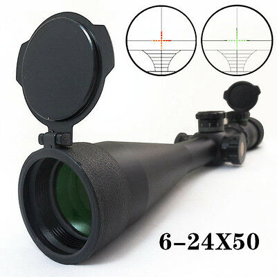 6-24x50 Tactical Red Green Rifle Scope with Rangefinder Reticle Side Focus