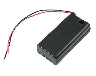 AA x 2 Enclosed Battery Holder ON/OFF Switch with Wires