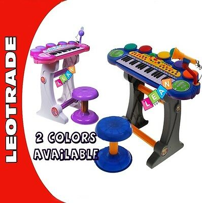 Kids Childrens 37 Key Electronic Keyboard Piano Mic Multi Musical Toy Stool