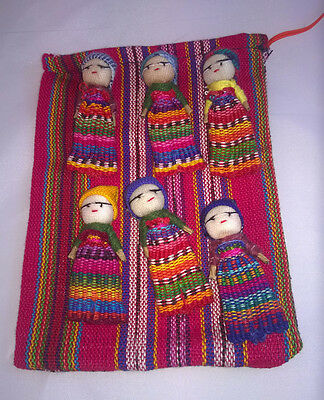 Large  6 Worry Doll Set in pouch
