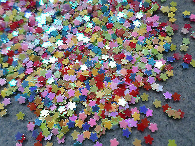 5g Craft Sequins / Confetti - AB Plated - 3mm - Flower - Mixed Colour
