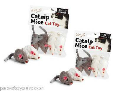 2 x Catnip mouse cat toy pack 4 fur mice toys sharples'n'grant  ruff 'n'tumble