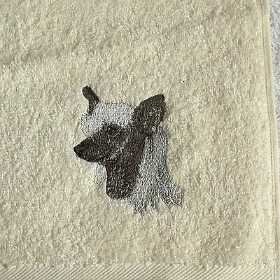 Chinese Crested Dog Embroidered Hand Towel, Dog Gift, Embroidery