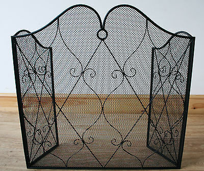 Ornate Metal Fire Screen / Fireplace Guard - Black