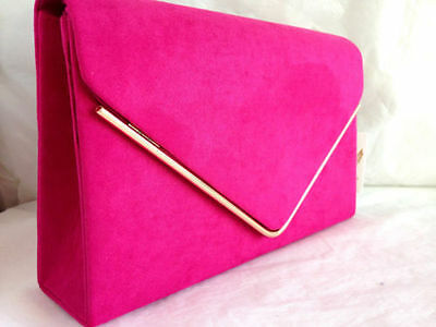 New Fuchsia Pink Faux Suede Evening Day Clutch Bag Wedding Club Party Prom Xmas