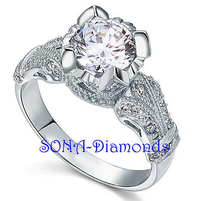 IF D Man Made SONA NSCD Diamonds SILVER 925 Big Vintage Wedding Engagement RING
