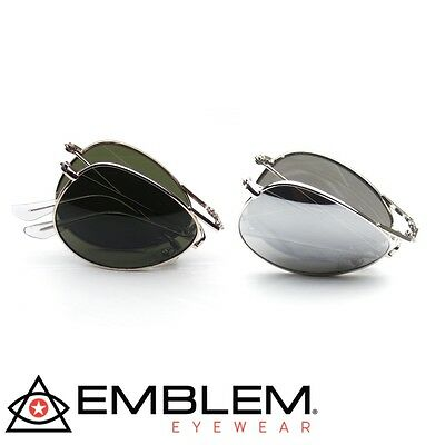 2 PAIR Aviator BUNDLE Sunglasses Folding Pocket Metal Aviator Sunglasses