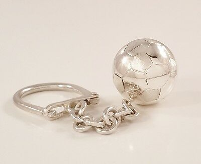 Real 925 Sterling Silver Soccer Ball Key Chain. Announce Your Favourite Sport.