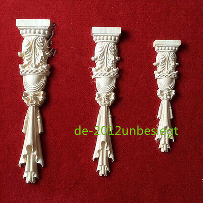 One Pair Low Profile Hand Carved Wood Acanthus Leaf Corbel