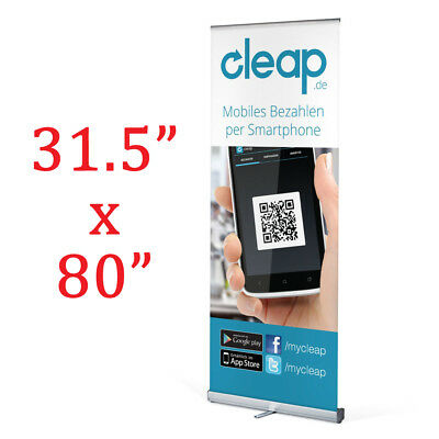 """Roll up Banner stand with premium graphic 31.5""""x80"""""""