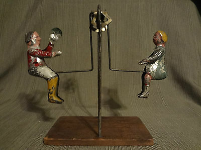 1900-1910 Antique Gibbs Children Seesaw Teeter Totter Perpetual Motion Tin Toy