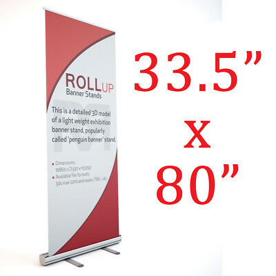 "Aluminum 33.5""x80"" Retractable Roll Up Banner Stand Trade show display"