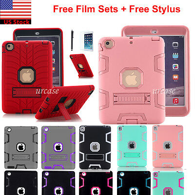 Shockproof Heavy Duty Rubber Case Stand Cover For iPad Air 2 iPad Mini 1 2 3 4 5