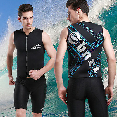 New Men's 3mm Neoprene Zip Front Sport Vest Warm Sleeveless Surfing Swim Shirt