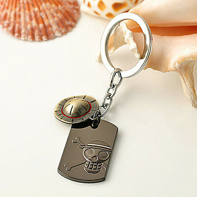 Famous Japan Anime One Piece Luffy Straw Hat Pirates Skull Keychain Key Ring
