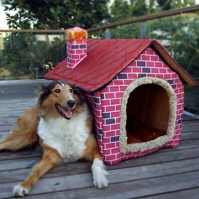 New Luxury Warm Indoor Brick Wall Pet Dog Cat House Beds Kennel Size L,XL