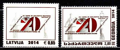 "Latvia - Georgia - 2014 ""20 Years of Diplomatic Relations"" Joint Issue (MNH)"