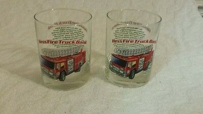 Hess 1996 Classic Truck Series 1986 Red Fire Truck Bank Whiskey Glass Tumbler
