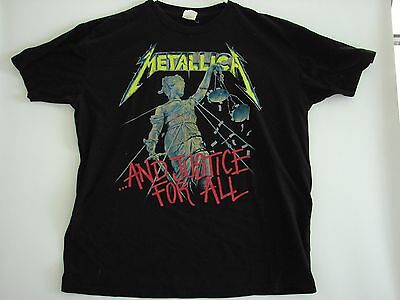 Metallica And Justice For All Mens XL Black Short Sleeve T Shirt Vintage