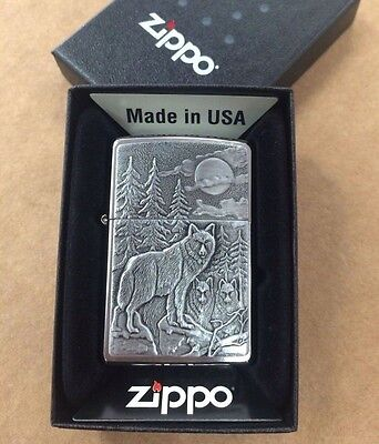 Zippo Brushed Chrome Timberwolves Wolf Emblem Windproof Lighter 20855 New In Box