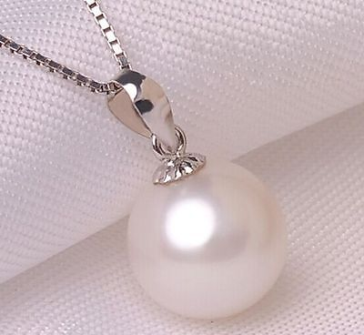 "18""11-12mm natural south sea white pearl necklace pendant"