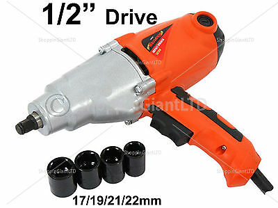 """5Pc 1/2"""" Inch Drive 1010W Corded Air Impact Wrench Tool + Wheel Nut Socket Set79"""