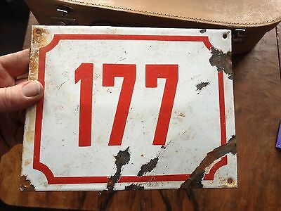 VINTAGE Antique SIGN PLATE TIN STREET HOME DOOR NUMBER 177