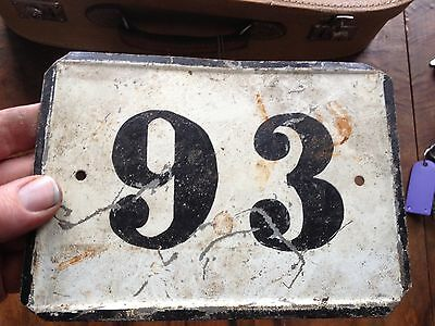 VINTAGE Antique SIGN PLATE TIN STREET HOME DOOR NUMBER 93