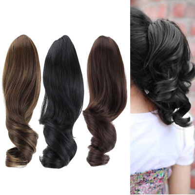 Womens Ladies Hair Wig Clip On Wrap Ponytail Clip In Hair Extension Wavy Curly