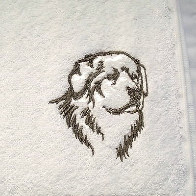 Pyrenean Mountain Dog Embroidered Hand Towel, Dog Gift, Dog Towel, Embroidery