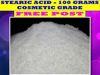 STEARIC ACID 100g ☆COSMETIC GRADE☆COSMETIC☆CANDLES☆AROMATHERAPY☆SOAPS☆ FREE POST