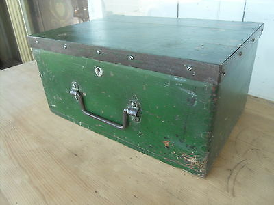 Small Vintage Pine Painted Box / Chest  Small Tool Box